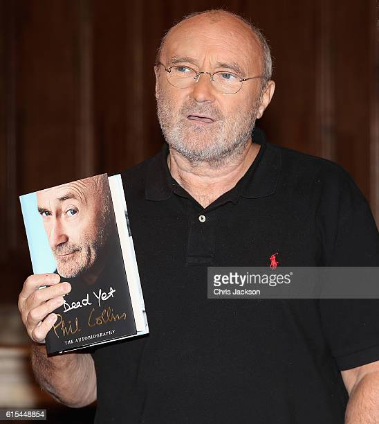 To celebrate the launch of his autobiography Not Dead Yet Phil Collins poses ahead of a talk at St James Church on October 18 2016 in London England