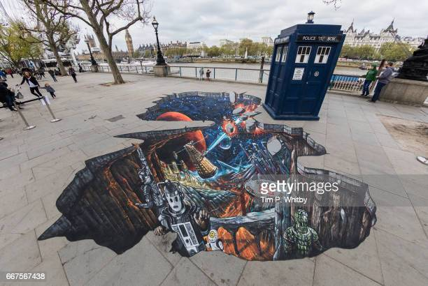 To celebrate the new series of 'Doctor Who' which returns to BBC One on Saturday April 15 the TARDIS and a huge 3D pavement painting artwork by 3D...