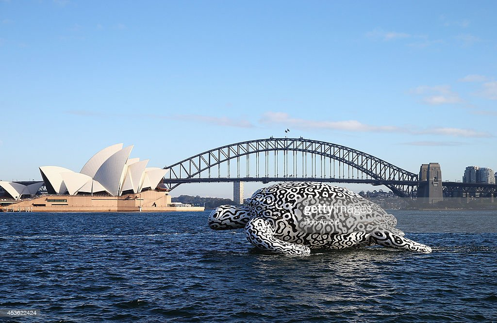 Gigantic Sea Turtle Sculpture Floats Past Sydney Harbour Bridge and Sydney Opera House : News Photo