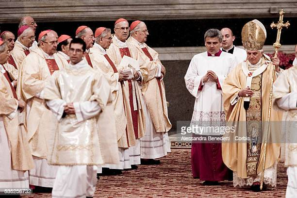 To commemorate Jesus Christ's gesture of humility towards his apostles at the Last Supper Pope Benedict XVI washes the feet of 12 priests on Holy...