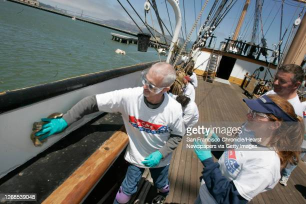 To Curtis Jensen and Lindsay Combs , from the main AAA office, on Van Ness, in SF, work on rust removal from the original paint on the ship the...