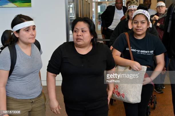 To demand the stop of their deportation undocumented Carmela Apolonio Hernandez and daughter Keyri Artillero Apolonio leave sanctuary to occupy first...