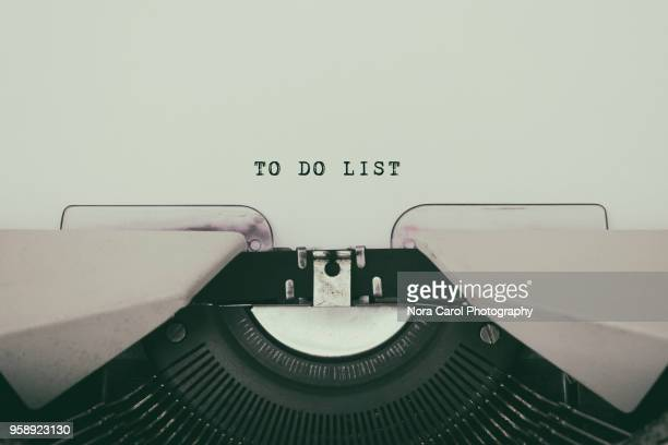 to do list typed on a vintage typewriter - to do list stock pictures, royalty-free photos & images