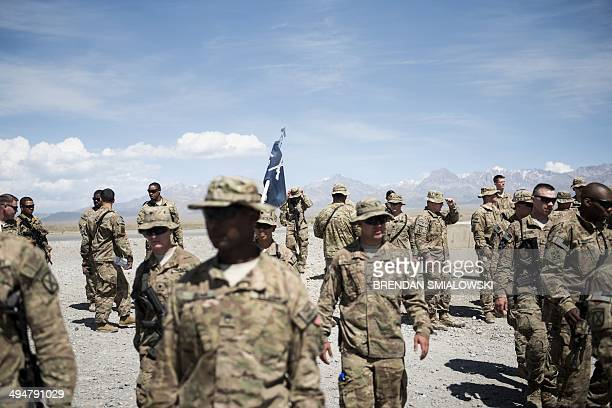 To go with AfghanistanunrestUSmilitaryveteranshealthFOCUS by Daniel De Luce This photo taken on May 28 2014 shows US soldiers leaving after greeting...