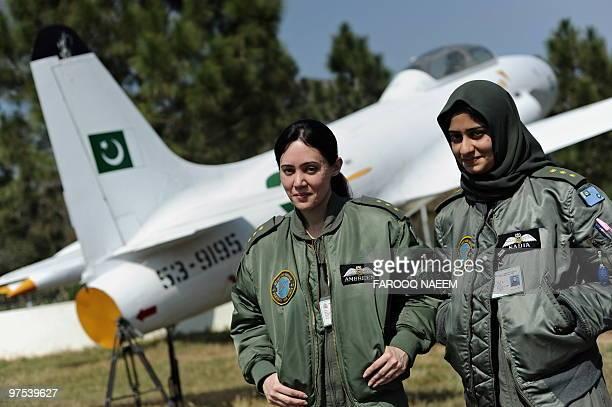 WOMENPAKISTANMILITARY Photo taken on March 5 2010 shows Pakistani Air Force Flight Lieutenant Ambreen Gul and Flight Lieutenant Nadia Gul in...