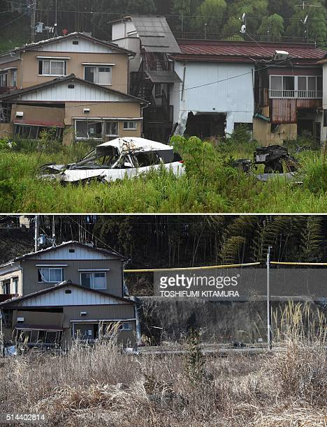 To go with AFP story 'Japannucleardisastertsunamianniversaryreconstruction' by Shingo Ito This photo combo shows on July 16 2015 vehicles and houses...
