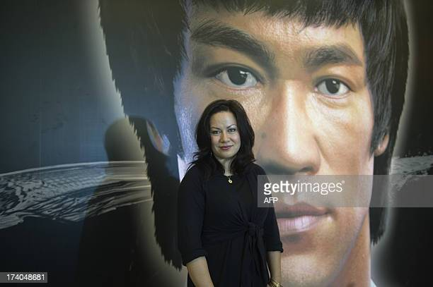 To go with AFP story Hong KongFilmCulturekung fuBruce Lee FOCUS by Dennis Chong In this picture taken on July 18 Shannon Lee daughter of martial arts...