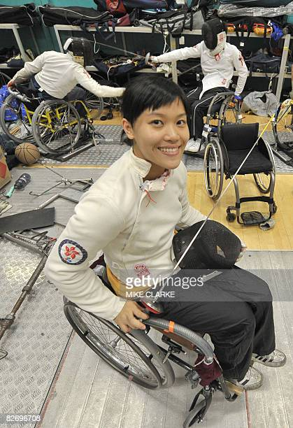 To go with AFP story Paralympics2008CHNHKGfencingFEATURE by JOHN SAEKI Paralympian fencer Yu Chui Yee poses prior to a training session at the Sports...