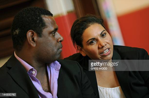 To go with AUSTRALIAENTERTAINMENTFILMFESTIVALCANNES by Madeleine COOREY In this photograph taken on May 9 Australian indigenous actors Deborah...