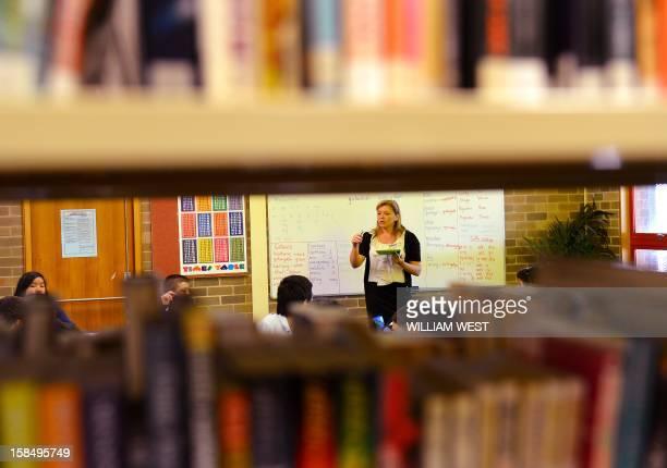 To go with 'AustralianativeAboriginallanguageFEATURE' by Madeleine Coorey In this picture taken on October 14 2012 teacher Noeleen Lumby teaches...