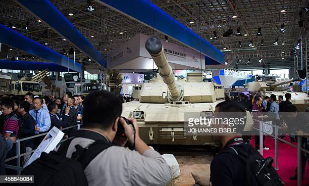 To go with Chinaaerospacedefence by BILL The main battle tank of China is seen on display at the Airshow China 2014 in Zhuhai south China's Guangdong...