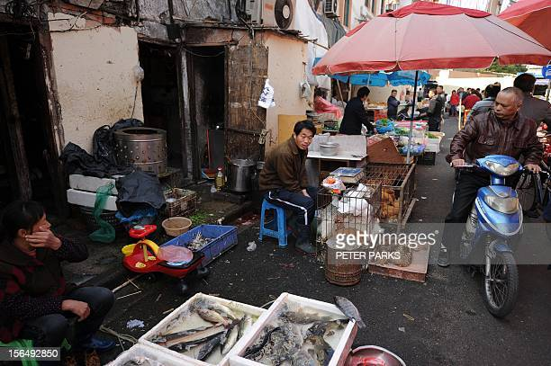 To go with 'ChinapoliticscongressFOCUS' story by Kelly Olsen This photo taken on November 15 2012 shows vendors selling fish and poultry at an...