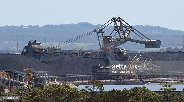 To go with ClimatewarmingUNCOP21AustraliacoalFEATURE by Madeleine Coorey A photo taken on November 18 shows part of the coal operations at the Port...