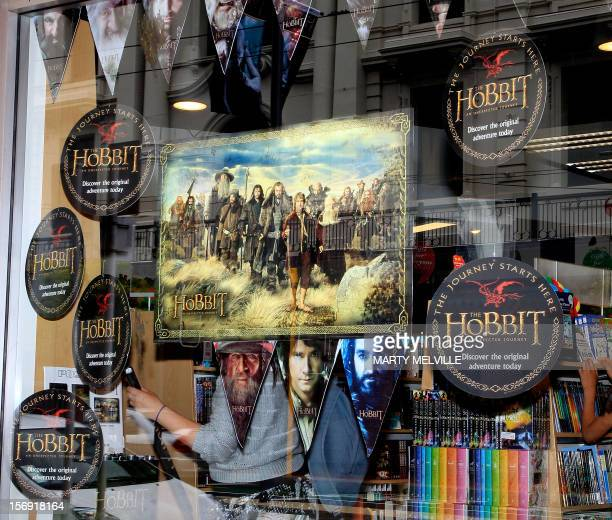 "To go with ""Entertainment-NZealand-film-tourism-Hobbit,ADVANCER"" by Neil Sands This picture taken on November 24th, 2012 shows shop windows..."
