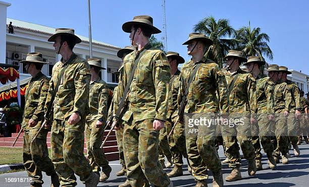 To go with 'ETimorUNpoliceeconomyFOCUS' by Mouzinho Lopes de Araujo In this photo taken on October 31 2012 Australian troops as part of International...