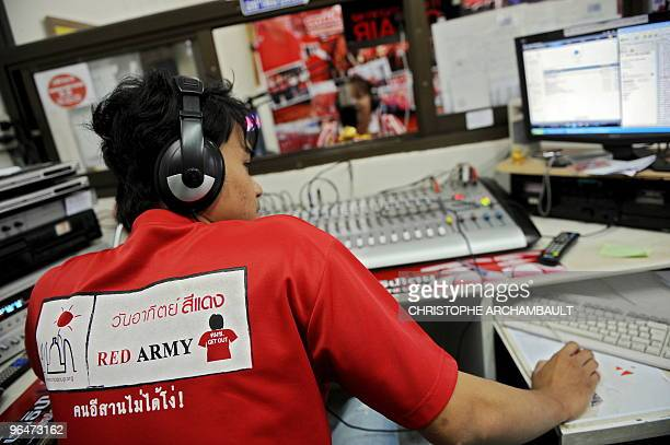 To go with feature story Thailandpoliticsprotestsociety by Rachel O'Brien A picture taken on January 11 2009 shows an employee monitoring as a radio...
