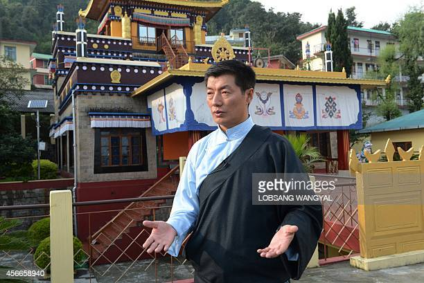 To go with 'IndiaChinaTibetpoliticsreligionFOCUS' by Claire Cozens In this photograph taken on October 1 Lobsang Sangay the head of the Tibetan...