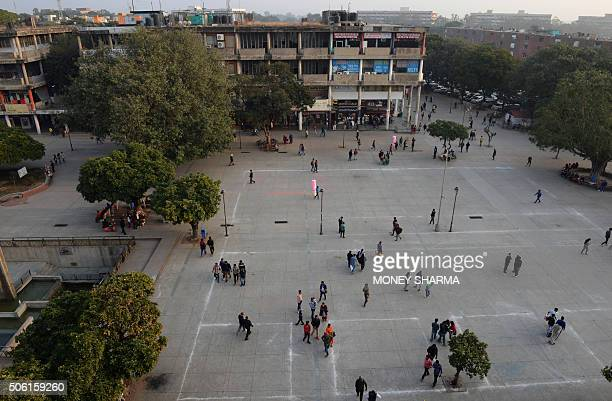 To go with IndiaFrancediplomacyADVANCER by Etienne FONTAINE This picture taken on January 18 shows a general view of an open air public area in...
