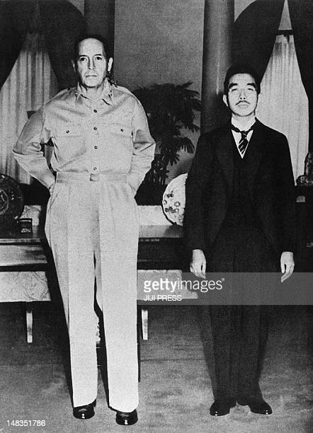 To go with JapanUSwarmilitaryhistory by Karyn Poupee This black and white photo taken on September 27 shows Japanese Emperor Showa and US General...