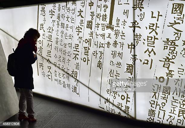 To go with SKoreaNKoreadiplomacyculturelanguage by Lim ChangWon by Lim ChangWon This picture taken on October 28 2014 shows a woman looking at the...