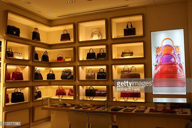 To go with story Lifestyle-Singapore-luxury-fashion,FEATURE by Bernice HanThis photo taken on March 17, 2011 shows the display of crocodile skin...