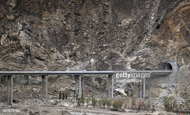 To go with story 'PakistanChinaeconomytransport FEATURE' by Guillaume LAVALLÉE In this photograph taken on September 29 a bus carrying Pakistani...