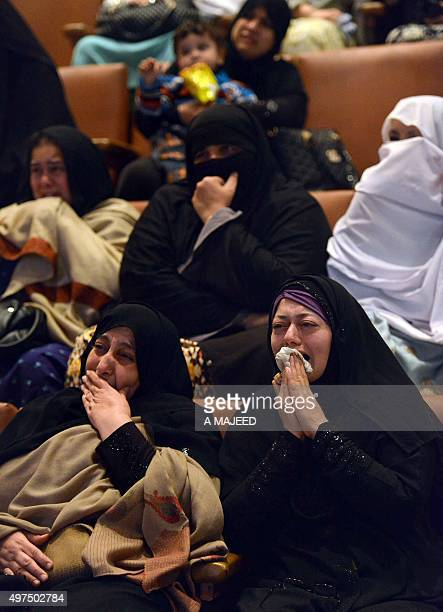 To go with story 'PakistanFranceunrestattacks' In this photograph taken on November 16 Pakistani relatives of slain students who were killed during...