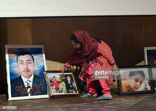 To go with story 'PakistanFranceunrestattacks' In this photograph taken on November 16 a Pakistani relative of a slain student killed during an...