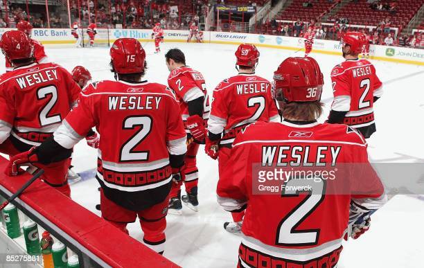 To honor Glen Wesley former defenseman with the Carolina Hurricanes, each player warmed up before their game in a Wesley jersey. The tradition began...