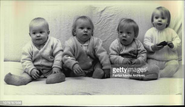 Mrs Judy McGlynn of Neutral with her 14 month old quads Adrianna Edward Claudia Isabel June 14 1984