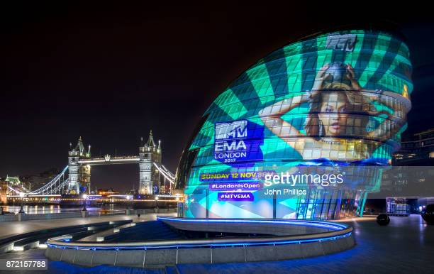 To kick off the 2017 MTV EMAs in London MTV have projected an image of this year's host Rita Ora onto City Hall on November 8 2017 in London England...