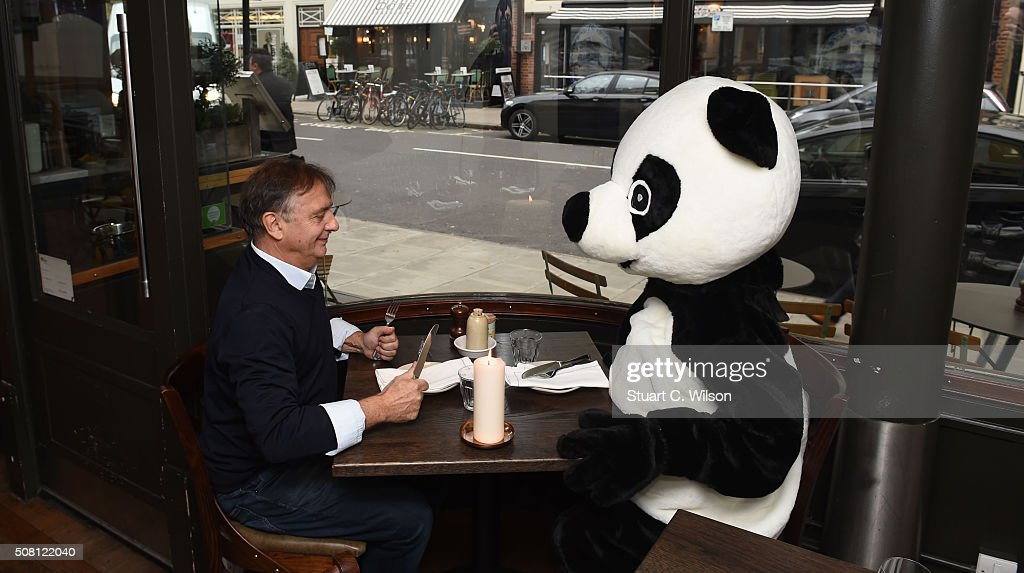 To kick-start the world's biggest celebration of our planet, Raymond Blanc OBE dines by candlelight with a symbolic panda to show his support for WWF's Earth Hour on February 3, 2016 in London, England. The top chef and President of Food Made Good invites the nation to follow in his footsteps and dine by candlelight to celebrate Earth Hour at 8.30pm on 19th March.