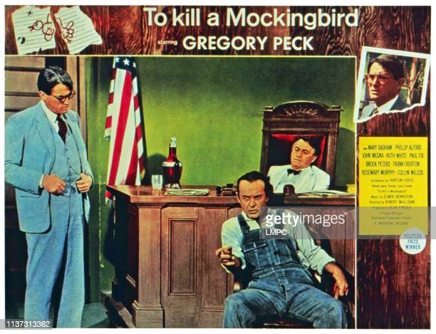 To Kill A Mockingbird US lobbycard from left Gregory Peck James anderson Paul Fix 1962