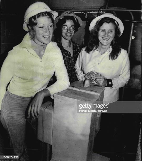 To L Stella Nord, Natha Kay and Joan Cox all hoist drivers, at work on Surry Hills building project at the corner of waterloo and Cooper streets,...