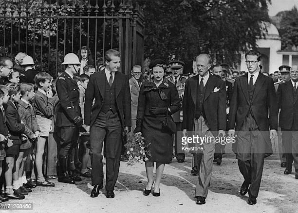 To mark the anniversary of Queen Astrid's death Prince Albert of Belgium later King Albert II of Belgium Princess Josephine Charlotte of Belgium...