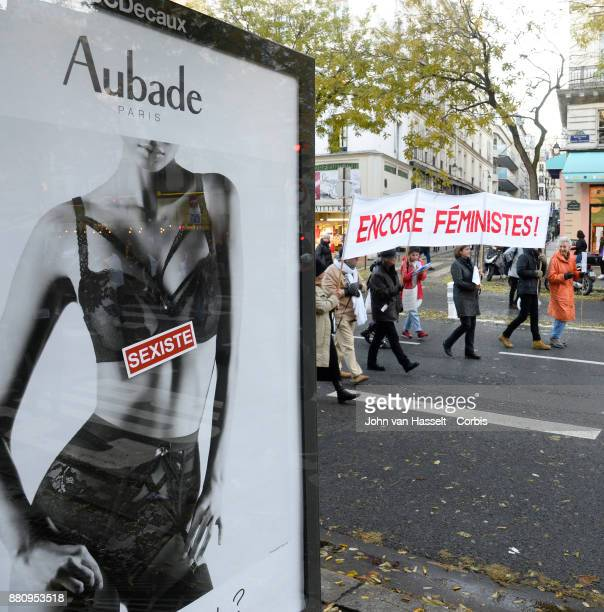 To mark the International Day for the Elimination of Violence Against Women demonstrators protest against sexism sexual assault and harassment on...