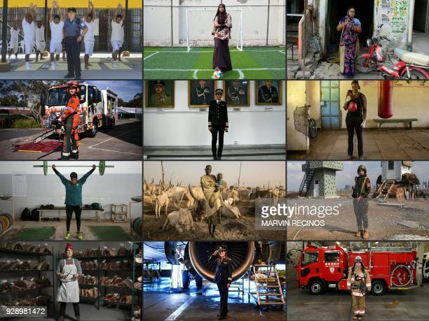 TOPSHOT To mark the occasion of International Women's Day on March 8 2018 AFP presents a series of 45 photos depicting women performing roles or...