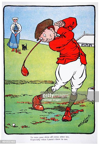 To miss your drive off every other tee especially when Laura's there to see Golfing postcard c1920s