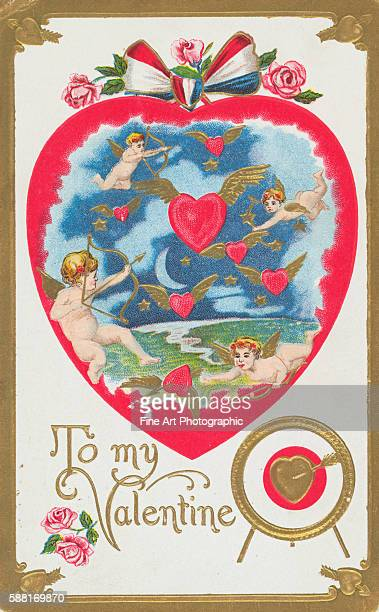 To My Valentine Postcard with Cupids and Hearts