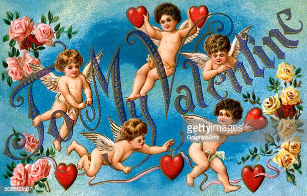 To My Valentine' Victorian illustration with winged cherubs and hearts on a blue background chromolithograph 1910s
