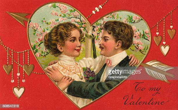 To My Valentine' vintage illustration with loving couple in a heart shape 1908