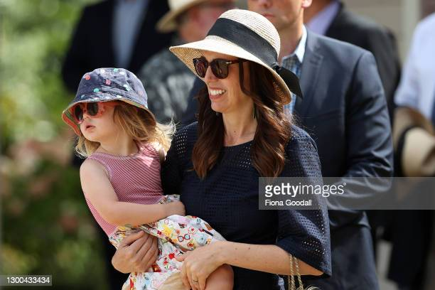 To Prime Minister Jacinda Ardern arrrives a the Waitangi Treaty Grounds with daughter Neve attend Beat the Retreat with the NZ Navy on February 05,...