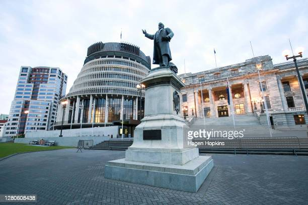 To R, a general view of Bowen House, The Beehive, statue of Richard Seddon and Parliament House during election day on October 17, 2020 in...
