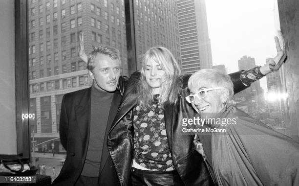 Actors Rutger Hauer and Nastassja Kinski pose with director Lina Wertmuller at a press conference for Wertmullers' film Crystal or Ash Fire or Wind...
