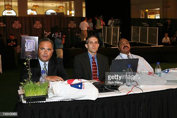 To R: Al Avila, Tom Moore and Willie Horton of the Detroit Tigers look on during the 2007 First-year player draft at The Milk House in Disney's Wide...