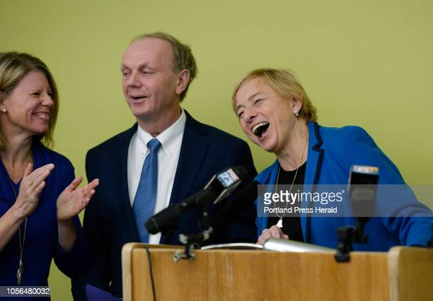 L to R Alan Caron's wife Kristina Egan Caron and Janet Mills share a laugh during a press conference where Caron endorsed Mills for Governor Monday...