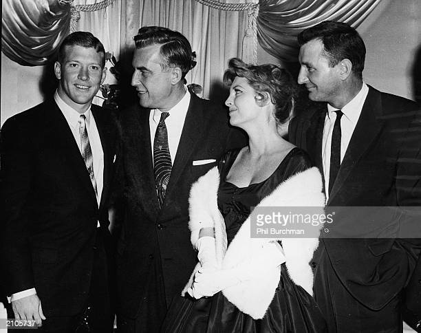 American baseball player Mickey Mantle, New Jersey governor Robert Meyner , American singer Julie London and her husband composer Bobby Troup greet...
