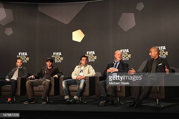 L to R Andres Iniesta of Spain Lionel Messi of Argentina Xavi of Spain Vicente Del Bosque coach of Spain and Pep Guardiola coach of Barcelona during...