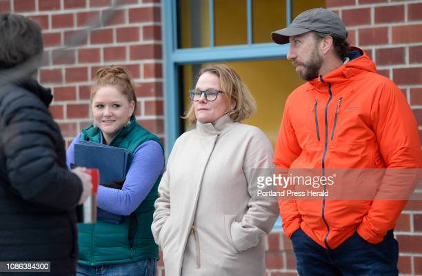 L to R Andrew Rinaldi Carissa Robb Andrea Suter and Charles Mullen lined up outside FAME's office to apply for the Maine Seed Capital Tax Credit...