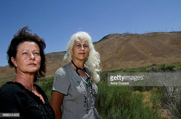 L to R April Biglay treasurer of Friends of Sand Canyon and Vetrinarian Beverly Billingsley Director of Friends of Sand Canyon are opposed to Helo...